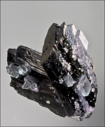 Ferberite with fluorite Yaogangxian China miniature Irv Brown