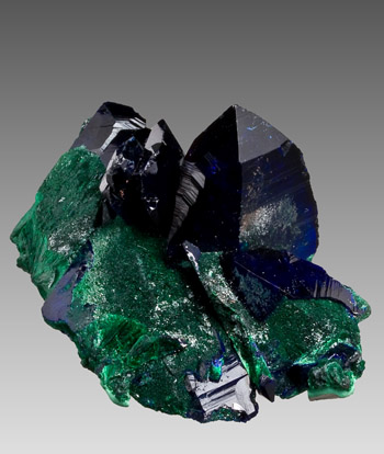 Azurite malachite Milpillas Mine Mexico small cabinet