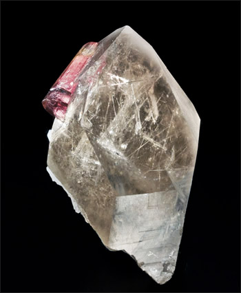 Quartz with Tourmaline and tourmaline inclusions Himalaya Mine San Diego County small cabinet