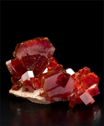 Vanadinite on barite Mibladen Morocco miniature