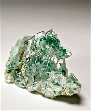 Atacamite with Gypsum Lily Mine Peru small cabinet